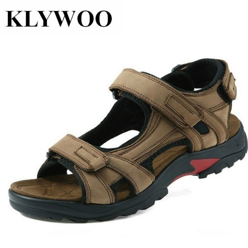 KLYWOO Big Size 38-48 Genuine Leather Men Beach Sandals Summer Mens Sandals for Man Fashion Brand Outdoor Mens Casual Shoes