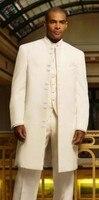 À la mode Longue Ivoire Smokings de Marié de Garçons D'honneur Hommes Costumes De Mariage de Bal Sur Mesure (Veste + Pantalon + Gilet + cravate) K: 83