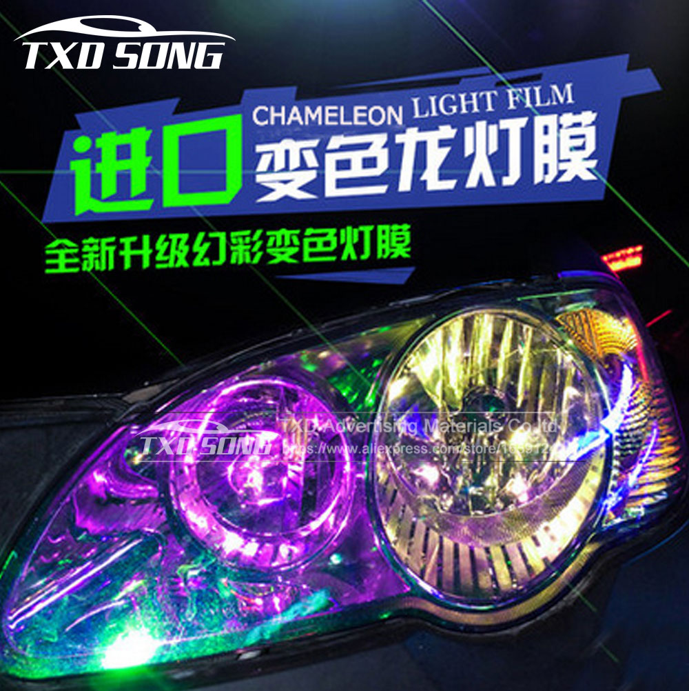 9M*30CM/Roll Shiny Chameleon Auto Car Styling Headlights Taillights Translucent film lights Turned Change Color Car Sticks