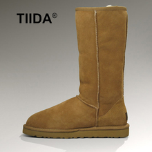 TIIDA 2016 Top Quality 100% Natural Fur Genuine sheepskin leather snow boots for women winter shoes warm Wool long snow boots