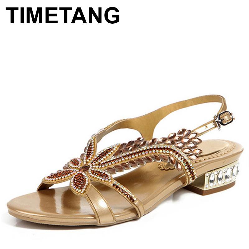 TIMETANG Women Gold Rhinestone Sandals Low heeled Plus Size 43 44 Summer Shoes Party Sandals Ankle
