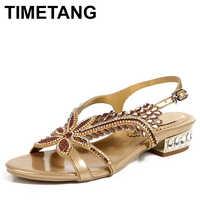 TIMETANG 女性ゴールドラインストーンサンダルローヒールプラスサイズ 43 44 夏の靴パーティーサンダルアンクルストラップ黒紫色