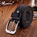 Calças de Brim Himunu 100% Genuíno da Correia de Couro Para Os Homens de Alta Qualidade Vintage Pin Buckle Belts Homens Primeira camada de Cintos de couro Mens