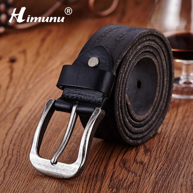 Himunu Vaqueros 100% Correa de Cuero Genuina Para Los Hombres de Alta Calidad Vintage Pin Hebilla de Los Hombres Cinturones Primera capa de Cinturones de cuero Mens