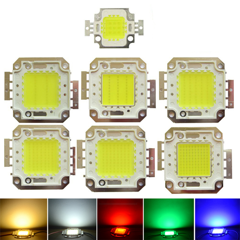 High Power Epistar COB LED Chip 10/20/30/50/100W SMD For Floodlight Spotlight R/G/B/White with AC/DC Power Supply Driver Switch