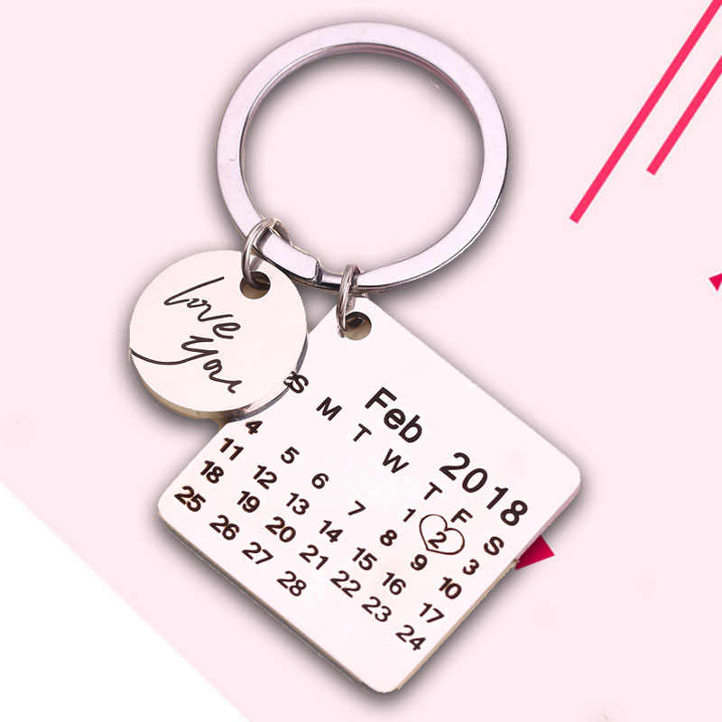 Personalized Calendar Keychain Date Customized Custom Key Chain Calendar Keychain Heart Highlighted Date Sleutelhanger Fast Ship