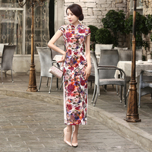 Free Shipping Vintage qipao dress Velvet Chinese Dress Floral Painted Blend Silk Cheong sam Long Cheongsam