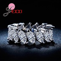 JEXXI Luxury Rhinestone Crystal Wedding Band Rings Women 925 Sterling Silver Jewelry Anniversary Party Ring Wholesale