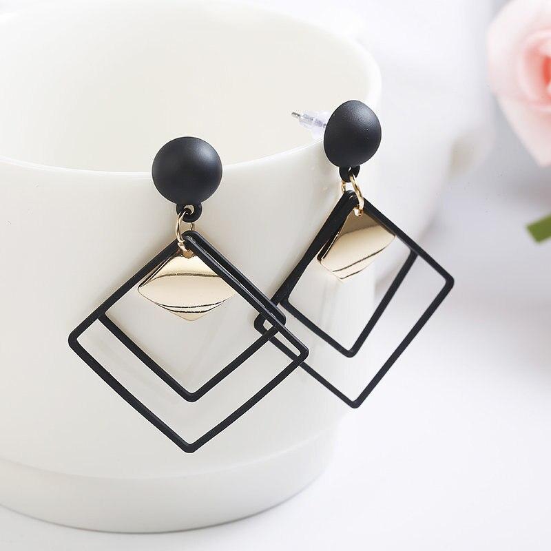 2018 Retro Rhombus Black Geometric Drop Earring Women Wedding Jewelry For Girl Gift
