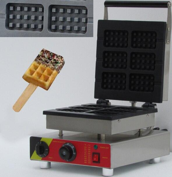 six slices commerical electric rectangle shape waffle iron, waffle baker ,waffle cone maker,belgian waffle maker