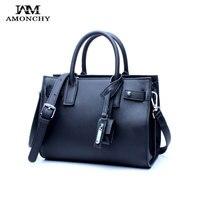 AMONCHY Women Genuine Leather Bags Brand Design Ladies Natural Skin Handbags Famous Stars Shoulder Messenger Bags