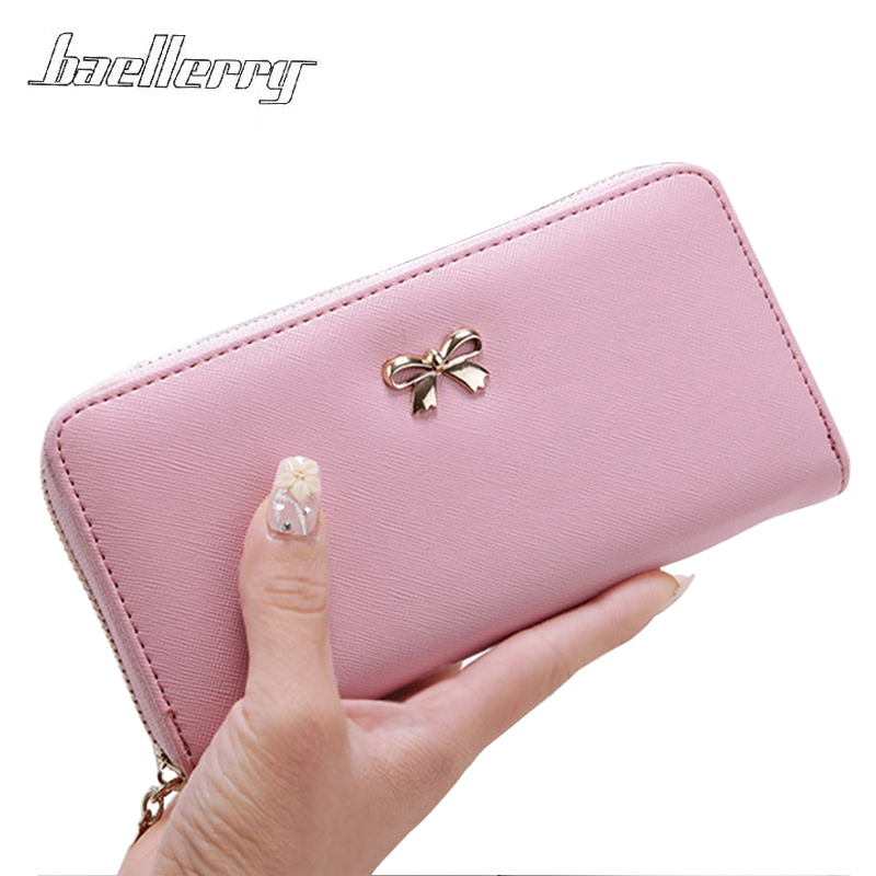 2018 Designer PU Leather Bowknot Women Bag Long clutch Wallets Coin Bag Phone Purses Lady Cards Holder Wallet Handbags