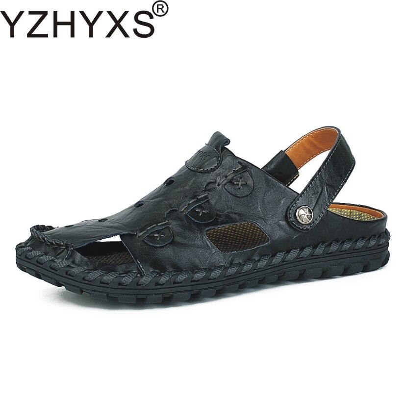 735cfdd8765e YZHYXS Men Sandals For 2017 Summer Beach Casual Shoes Genuine Split Cow  Leather Flats Slipper Mens Sandal