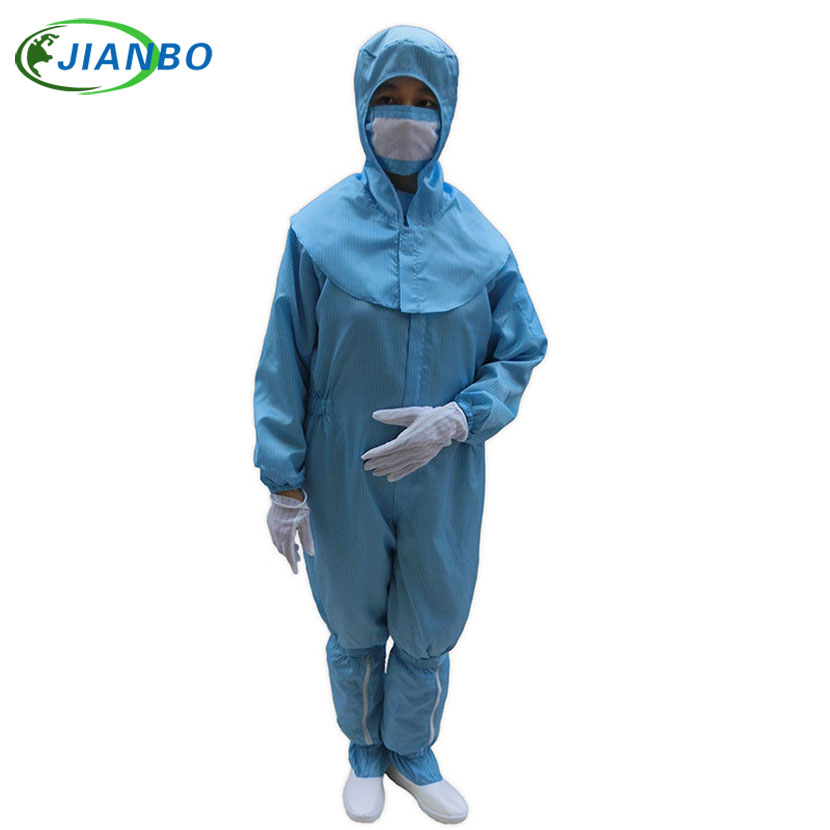 Anti Static Clothing Food Clean Room Dustproof Jumpsuit Garment And PVC High Tubular Shoes ESD labor Protective Suit Clothes blue and white canvas anti static shoes esd clean shoes pharmaceutical shoes work shoes add cotton