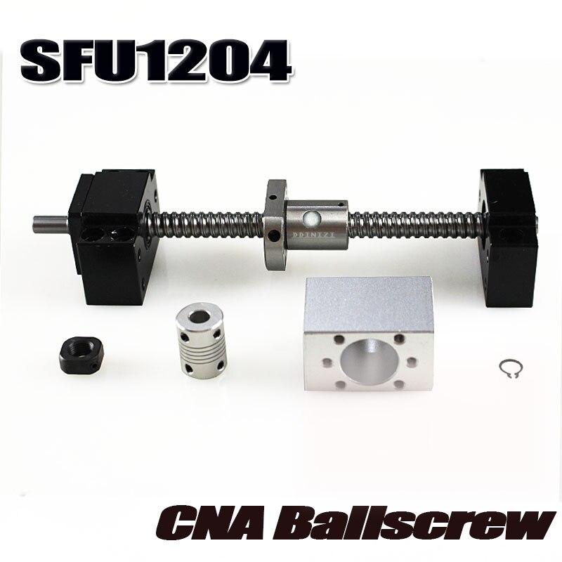 SFU1204 jeu: SFU1204 vis à billes roulées C7 avec extrémité usinée + 1204 écrou à billes + boîtier d'écrou + support d'extrémité BK/BF10 + coupleur RM1204