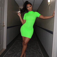 2019 Summer Women Dress Neon Green Orange Solid High Neck Short Sleeve Waist Dresses Stretchy Casual Streetwear Party