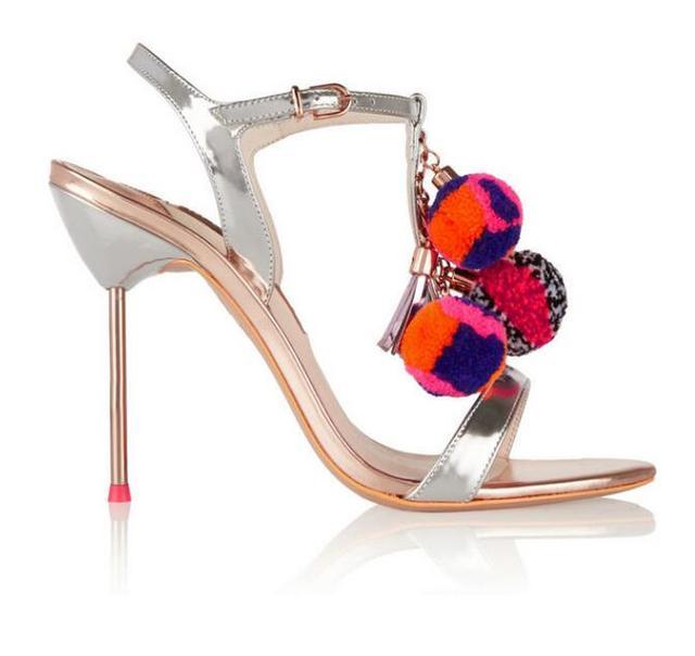 Hot Selling Designer Brand Layla Pom-Pom Metallic Leather Sandal Silver/Gold Metal Heel Summer Dress Shoes High Heel Pumps