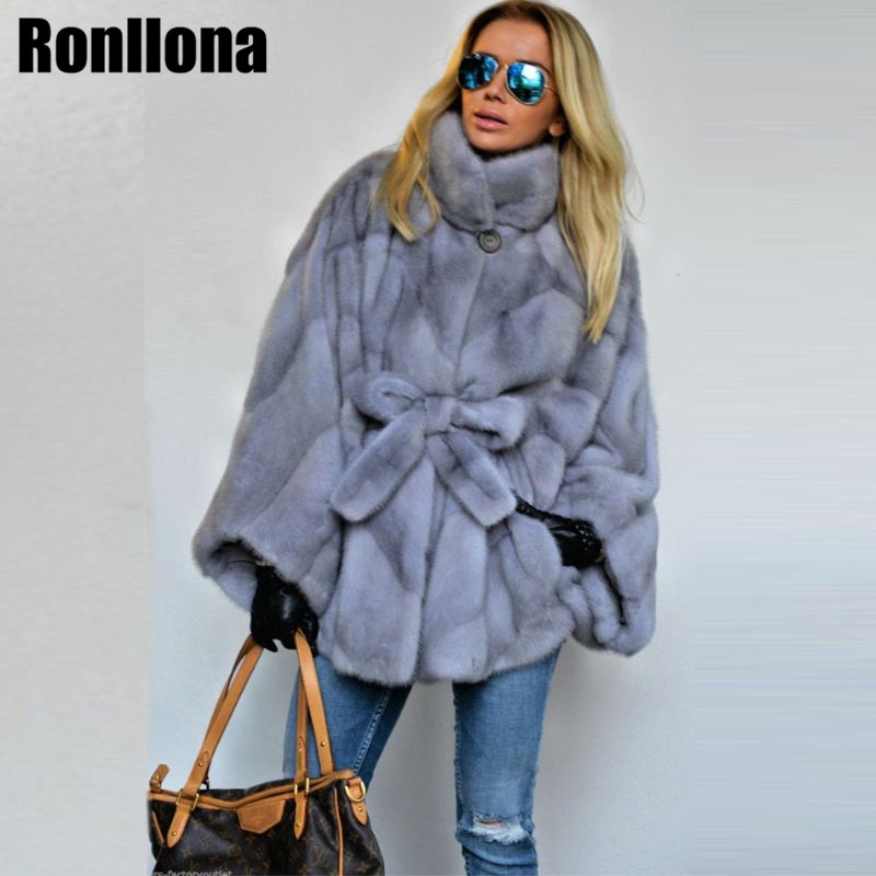 2018 New Real Mink Fur Coat Stand Collar Bat Sleeved Women Winter Real Fur Coats Natural With Belt Genuine Jacket Luxury MKW-092