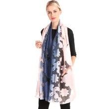 Женский кружевной шарф из органзы с цветочной вышивкой