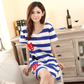 2015 new woman sexy summer style striped cotton nightgown big yards have XXL yards, free home delivery