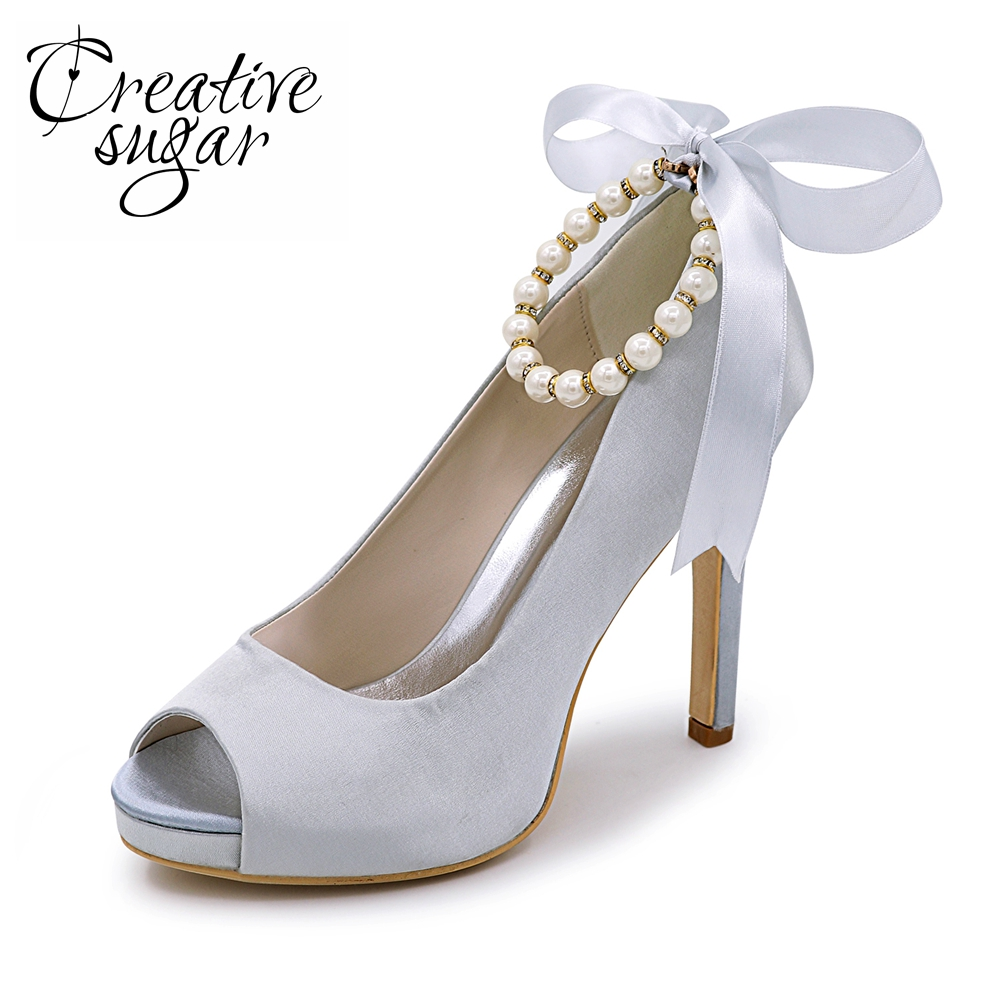 Creativesugar Pearls ankle strap ribbon tie bridal open toe weddin platform dress shoes pink royal blue quinceanera ivory shoes