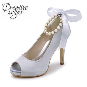 Creativesugar Pearls bridal platform dress shoes pink 2e371add4e90