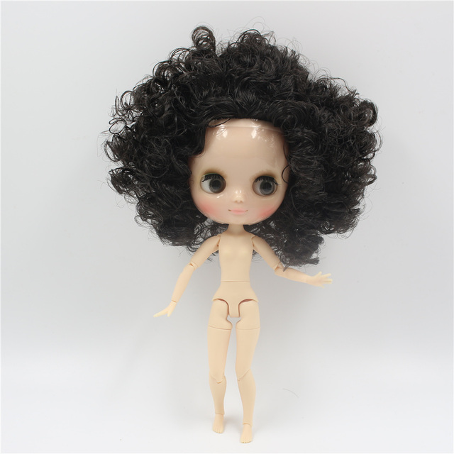 Middie blyth 20cm nude doll with balck Afro Hair shine face joint body ICY DIY toys gift with hands set BJD Free shipping
