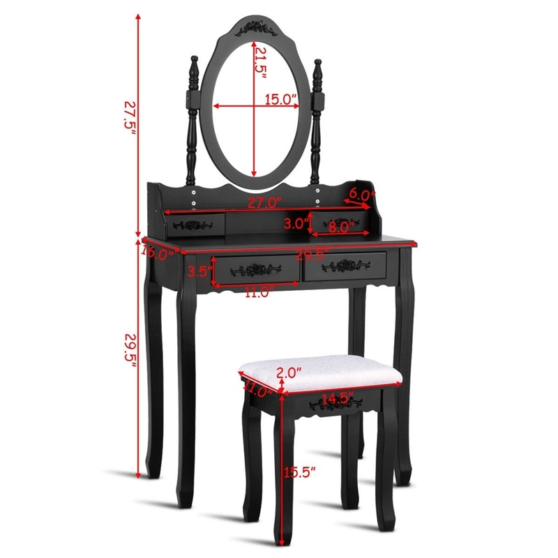 Зеркало для спальни деревянный туалетный столик табурет набор спальни Высококачественная Мебельная ручка HW52948 - 5