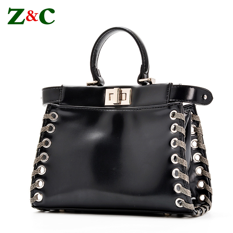 Designer Brand Classic Peekaboo Tote Bag Split Leather Handbags Women Messenger Bags Handbags Luxury Shoulder Bag Crossbody Tote 2016 women split leather handbags the waves peekaboo bags famous brands designer fashion ruffles handbag tote shoulder bag