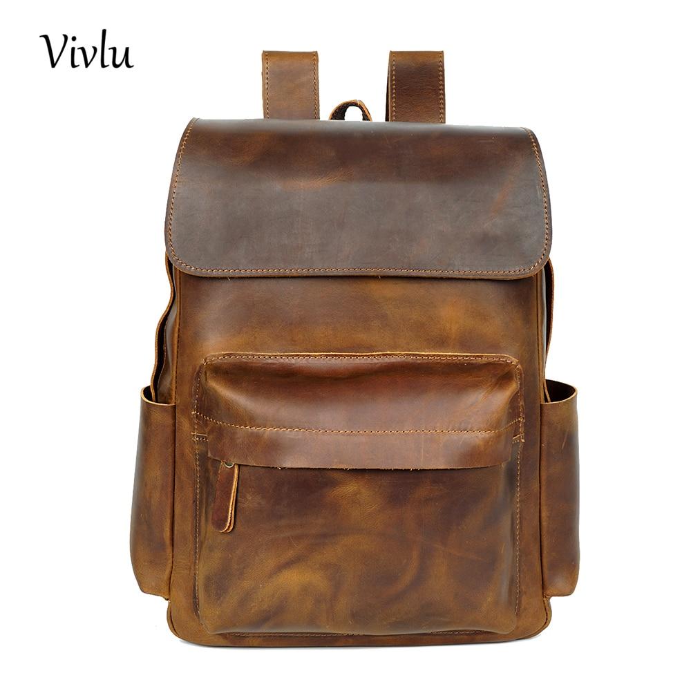 Luggage & Bags Brand Designer Men Genuine Leather Backpack Mens School Backpack Bag Bagpack Mochila Feminina Brown Travel Bag Shoulder Bag Discounts Price