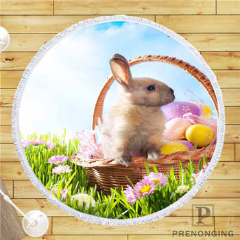 Custom DIY Customized Microfiber Fabric easter-bunny-rabbit- Round Beach Blanket Towel Printed on Demand 150cm #19-01-28-1-53