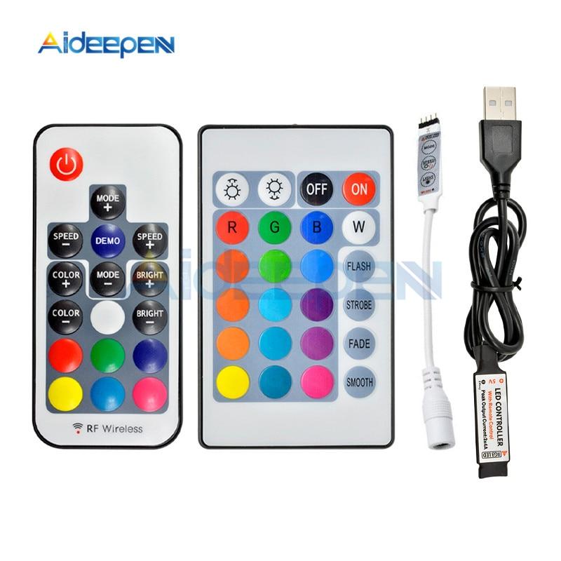 DC 5V 12V 24V 3 17 24 Key LED IR RF RGB Wireless Remote Dimmer USB Led Strip Lights Controler For RGB SMD 3528 5050 LED Strip