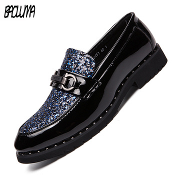 2019 Men Rhinestone Black Decoration Mens Formal Dress Shoes Soft Sole Slip-on Loafers Big Size Party Driving Shoes Loafers