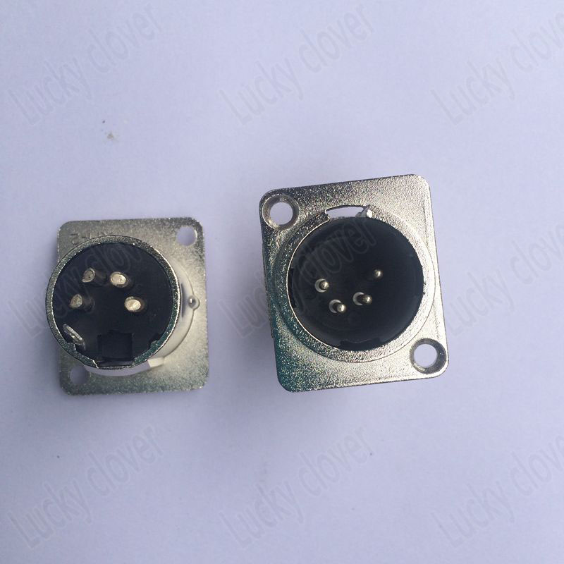 20pcs XLR 4 Pin male Chassis Panel Socket Connector