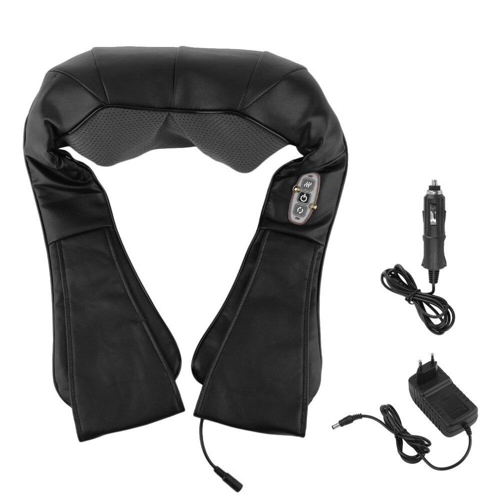 EU Plug Portable Heating Type Kneading Massage Car Home Dual-Use Shawl Vertebra Massage Device 4D Neck Massager Tool 4d massager