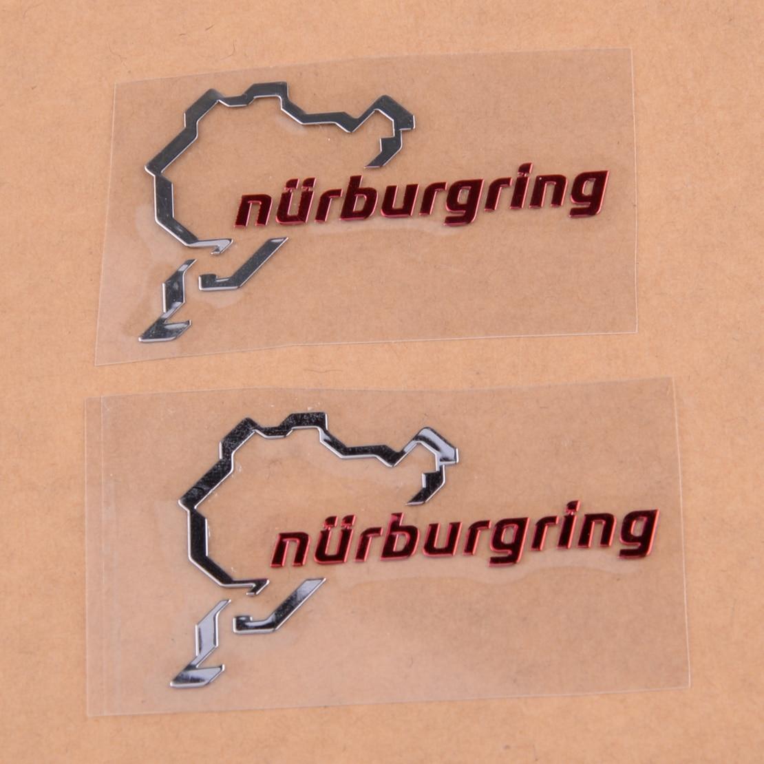 2pcs Silver Chrome Nurburgring Motor Sport Car Emblem Sticker Decal Logo