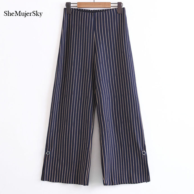 84e76f00ba1f SheMujerSky Wide Leg Pants Striped Trousers Office Ladies Straight Women  Loose Pants 2017 pantaloni donna