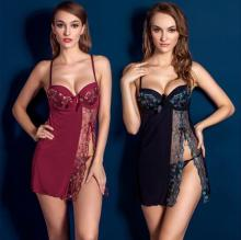 Women Sexy Erotic Steel Prop Lace Lingerie Chiffon Transparent Nightwear Sexy Backless Spaghetti Straps Sex Underwear CE427