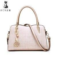 FOXER Brands Women Leather Handbags Lady Shoulder Bag Simple Luxury Crossbody Bags For Female Fashion High