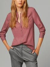 2016 Massimo Women Red Shirts Long Sleeve Stand Collar Blouse Casual Work Wear Shirt ZA Brand Cotton Tops Blusas Femininas S357