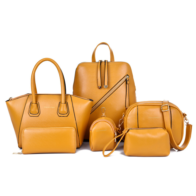 2019 New for Women Design Handbags 6 Piece Pu Leather Bag Vintage Print Crossbody Bags Yellow Hand Bags