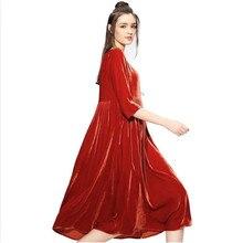New 2018 Plus Size Loose O-neck Vintage Dress Female Gold Velvet Ladies Casual Dress for Autumn Winter Women Vestidos White Red