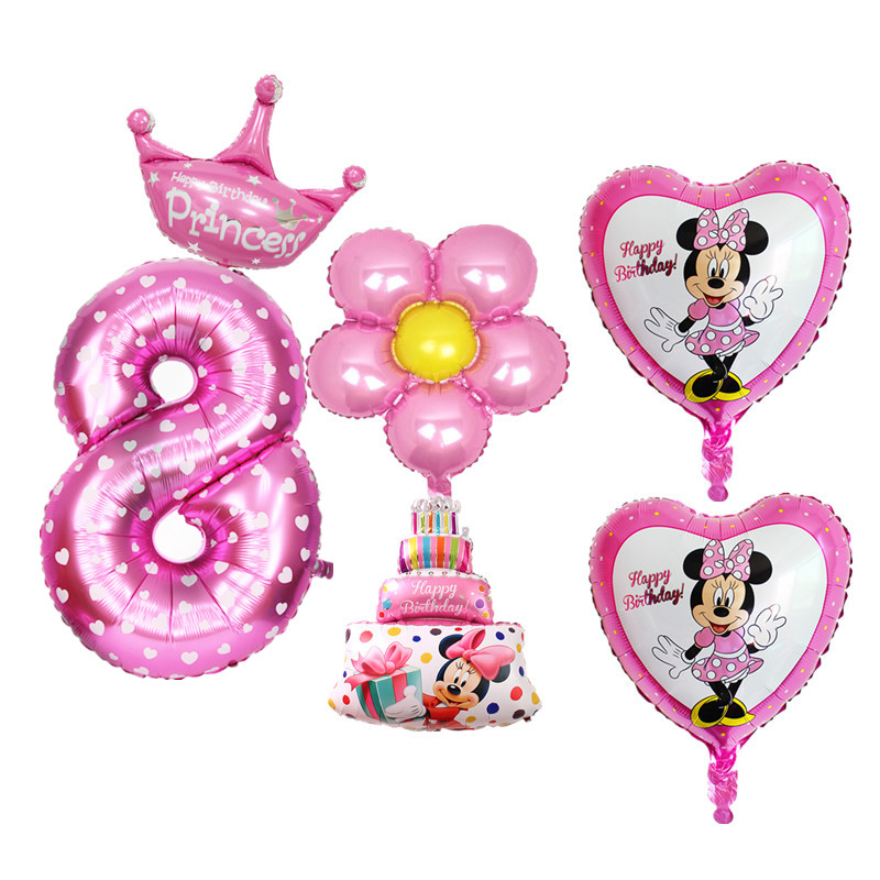 6pcs Set Blue Pink Happy Birthday Balloons For Kids Boy Girl 8 Years Old Party Decoration Star Digital Foil In Ballons Accessories