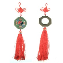 ANGRLY Chinese Zodiac Bagua Mirror Charm Feng Shui Lucky Blessing Knot Car Decor Pendant Metal Handicraft Decoration