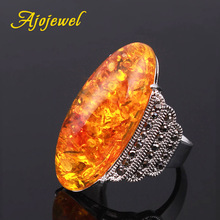 Ajojewel size 7-10 Exaggerated Big Light Green/Dark Green/Red/Clear/Orange Stone Ring For Women Vintage Jewelry Bague