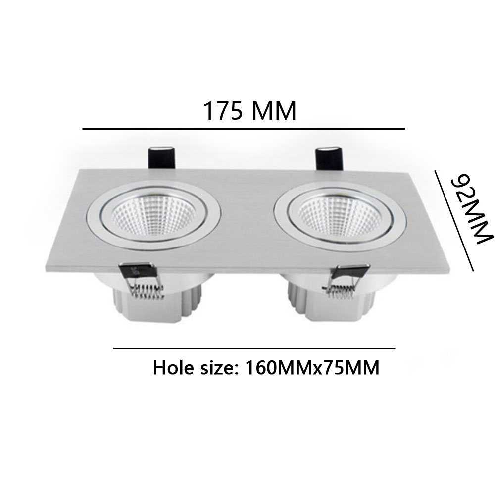 Square Bright Recessed Double LED Dimmable Square Downlight COB ... for Ceiling Double Spot Light  575lpg