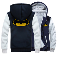 Batman Super Hero Marke Hoodies Herren 2017 Winterjacke Marke Fleece Hochwertigen Sweatshirt Männer Dicke Reißverschluss Hoodies männer mantel