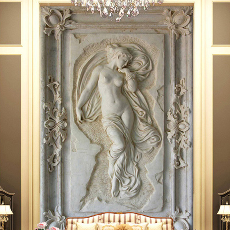 European Style 3D Relief Figure Self-Adhesive Mural Wallpaper Living Room Study Home Decor Waterproof Canvas Photo Wall Stickers