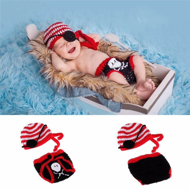 Cute Pirate Newborn Boys Photography Props Crochet Baby Hat and Diaper Set Handmade Baby Costume Baby Beanie Fotografia Props