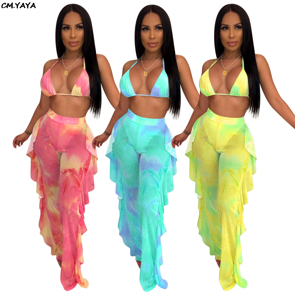 16d0edfd3040 2019 new women tie dye galaxy print mesh see though halter bra top ruffles  side splicing